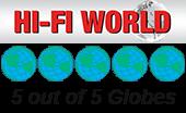 La revista Hi-Fi World recibe la insignia del premio 5 de 5 globos terráqueos