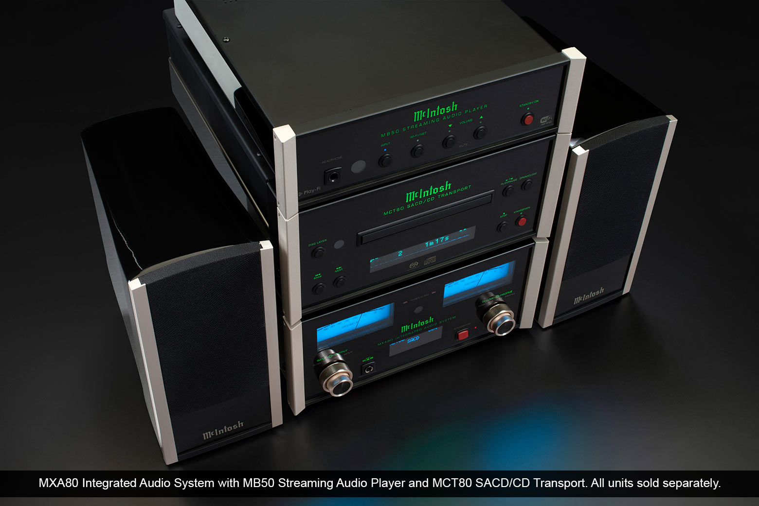 MXA80 Integrated Audio System, MB50 Streaming Audio Player and MCT80 SACD/CD Transport.